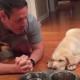 Богобоязненный щенок лабрадора молится перед едой