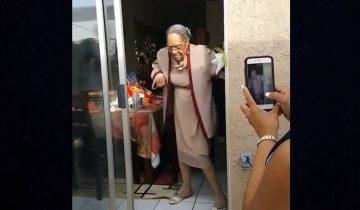 100-летняя старушка зажгла в свой день рождения