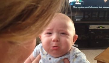 Неожиданная реакция малыша на мяуканье