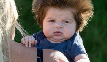 В 9-недельном возрасте этот малыш прославился своей шевелюрой