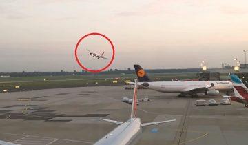 Очевидцы в Дюссельдорфе сняли опасный маневр расстроенного пилота