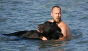 Мужчина увидел, что в воде тонет дикий медведь