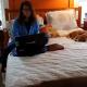 Пока хозяйка работала, пес мирно спал. Но едва она вышла…
