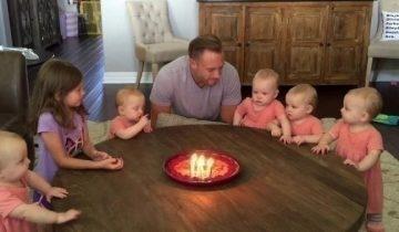 Отец 6 девочек задул свечи на торте — реакция малышек просто уморительна!