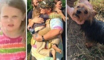 Собачка нашла потерявшуюся девочку и всю ночь согревала ее своим теплом