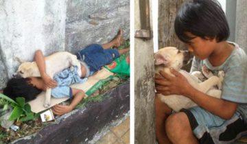 Бездомный мальчик подобрал бездомного щенка, чтобы не быть одиноким…