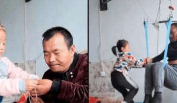 Невероятная забота 6-летней девочки о парализованном отце