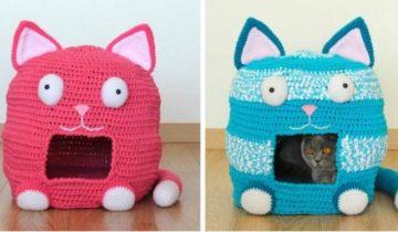 10 милых и смешных вязаных домиков и диванчиков для кошек